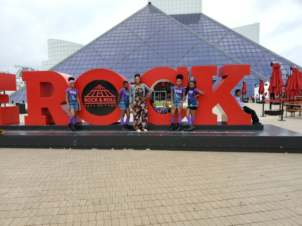 Danielle Upshaw and dance team at the Rock and Roll Hall of Fame