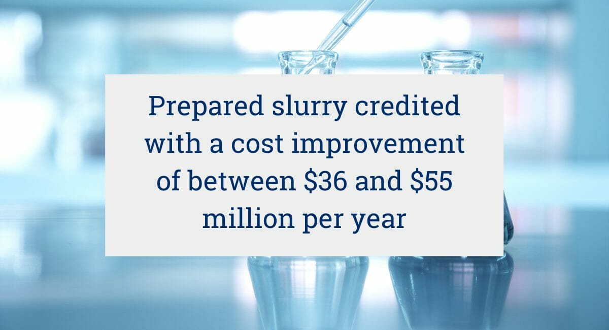 Prepared slurry credited with a cost improvement of between $36 and $55 million per year